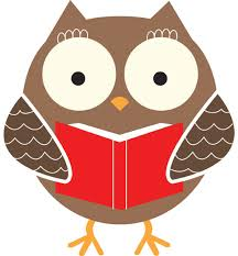 A cartoon owl holding a red book.