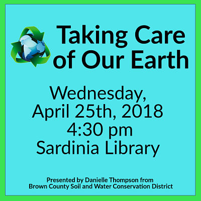 _Taking Care of our Earth _Wednesday April 25 at 4:30 pm_Earth with recycle arrows around it.